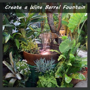 tropical exotic plants with fountain lights