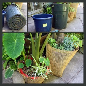 household trash can & plastic container planters