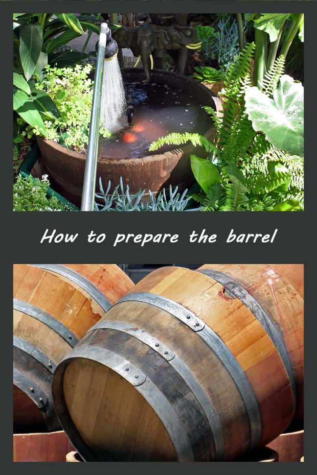 Prepare a Whiskey barrel for water garden